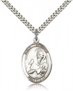 St. Andrew the Apostle Medal, Sterling Silver, Large [BL0714]