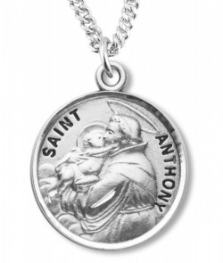 Boy's St. Anthony Necklace Round Sterling Silver with Chain [HMR1237]