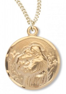 Women's 14kt Gold Over Sterling Silver Round Saint Anthony Necklace + 18 Inch Gold Plated Chain & Clasp [HMR0407]
