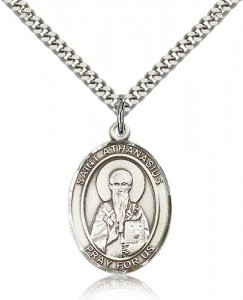 St. Athanasius Medal, Sterling Silver, Large [BL0795]