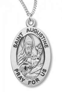 Boy's St. Augustine Necklace Oval Sterling Silver with Chain [HMR1133]