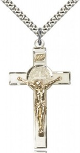 St. Benedict Crucifix Pendant, Two-Tone [BL5475]