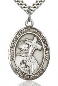 St. Bernard of Clairvaux Medal, Sterling Silver, Large [BL0912]