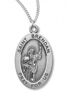 Boy's St. Brendan Necklace Oval Sterling Silver with Chain [HMR1134]