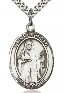 St. Brendan the Navigator Medal, Sterling Silver, Large [BL0957]