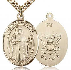 St. Brendan the Navigator/ Navy Medal, Gold Filled, Large [BL0962]
