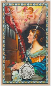 St. Cecilia Medal with Prayer Card [MPC0113]