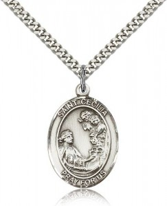 St. Cecilia Medal, Sterling Silver, Large [BL1087]