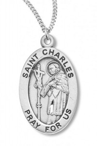 Boy's St. Charles Necklace Oval Sterling Silver with Chain [HMR1135]