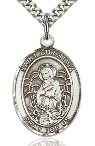 St. Christina the Astonishing Medal, Sterling Silver, Large [BL1114]