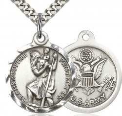 St. Christopher Army Medal, Sterling Silver [BL4187]
