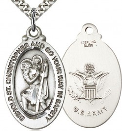 St. Christopher Army Medal, Sterling Silver [BL5957]
