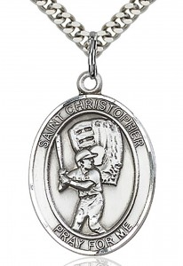 St. Christopher Baseball Medal, Sterling Silver, Large [BL1155]