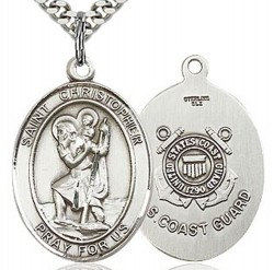 St. Christopher Coast Guard Medal, Sterling Silver, Large [BL1186]