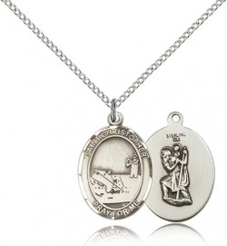 St. Christopher Fishing Medal, Sterling Silver, Medium [BL1222]