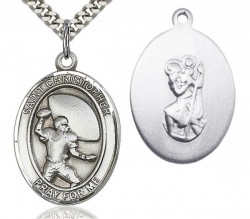St. Christopher Football Medal, Sterling Silver, Large [BL1235]