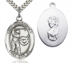 St. Christopher Golf Medal, Sterling Silver, Large [BL1250]