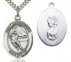 St. Christopher Hockey Medal, Sterling Silver, Large [BL1267]