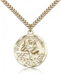 Round 14kt Gold Filled Saint Christopher Medal [BL4052]