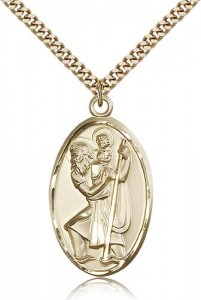 Men's Large Gold Filled Saint Christopher Pendant [BL5259]