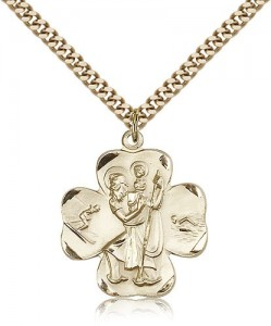 Men's 14kt Gold Filled Clover Leaf Saint Christopher Necklace [BL5874]