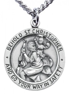 Men's Sterling Silver Round Saint Christopher Necklace [HMR0729]