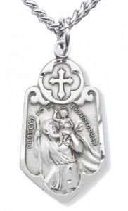 Men's Sterling Silver Shield Shape Saint Christopher Necklace with Cross Top with Chain Options [HMR0731]