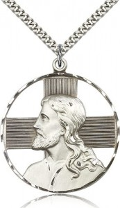 Christ Profile Necklace, Sterling Silver [BL6529]