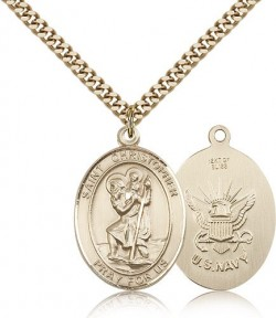 St. Christopher Navy Medal, Gold Filled, Large [BL1355]