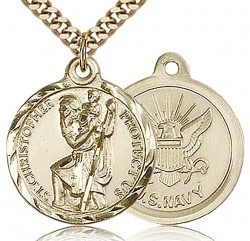 St. Christopher Navy Medal, Gold Filled [BL4177]