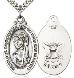 St. Christopher Navy Medal, Sterling Silver [BL5961]
