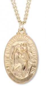 Women's 14kt Gold Plated Oval Saint Christopher Necklace + 18 Inch Gold Plated Chain & Clasp [HMR0400]