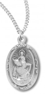 Women's Sterling Silver Oval Saint Christopher Necklace with Chain Options [HMR0726]