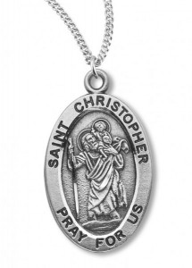 Boy's St. Christopher Necklace Oval Sterling Silver with Chain [HMR1136]