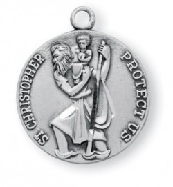 Women's or Boy's Sterling Silver Round Saint Christopher Necklace with Chain Options [HMR0746]