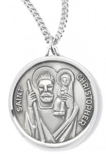 Women's St. Christopher Necklace, Sterling Silver with Chain Options [HMR0948]