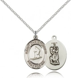 St. Christopher Skiing Medal, Sterling Silver, Medium [BL1395]