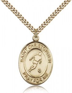 St. Christopher Soccer Medal, Gold Filled, Large [BL1402]