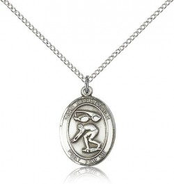 St. Christopher Swimming Medal, Sterling Silver, Medium [BL1449]