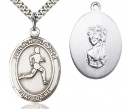 St. Christopher Track and Field Medal, Sterling Silver, Large [BL1476]