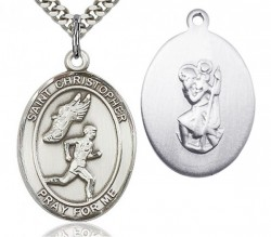 St. Christopher Track and Field Medal, Sterling Silver, Large [BL1477]