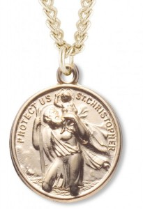 Men's 14kt Gold Plated Saint Christopher & Saint Raphael Necklace + 24 Inch Gold Plated Endless Chain [HMR0399]