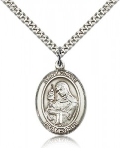 St. Clare of Assisi Medal, Sterling Silver, Large [BL1517]