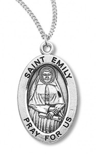 Women's St. Emily Necklace Oval Sterling Silver with Chain Options [HMR1210]