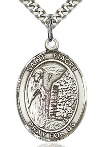 St. Fiacre Medal, Sterling Silver, Large [BL1768]