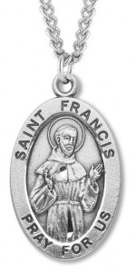 Men's Saint Francis Sterling Silver Oval Necklace with Chain Options [HMR0875]