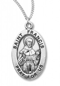 Boy's St. Francis Assisi Necklace Oval Sterling Silver with Chain [HMR1143]