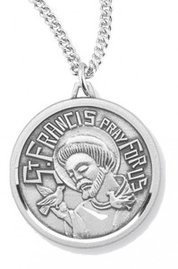 Women's St. Francis Necklace, Sterling Silver with Chain Options [HMR0949]