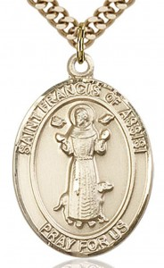 St. Francis of Assisi Medal, Gold Filled, Large [BL1828]