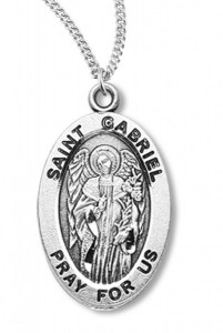Boy's St. Gabriel Necklace Oval Sterling Silver with Chain [HMR1144]